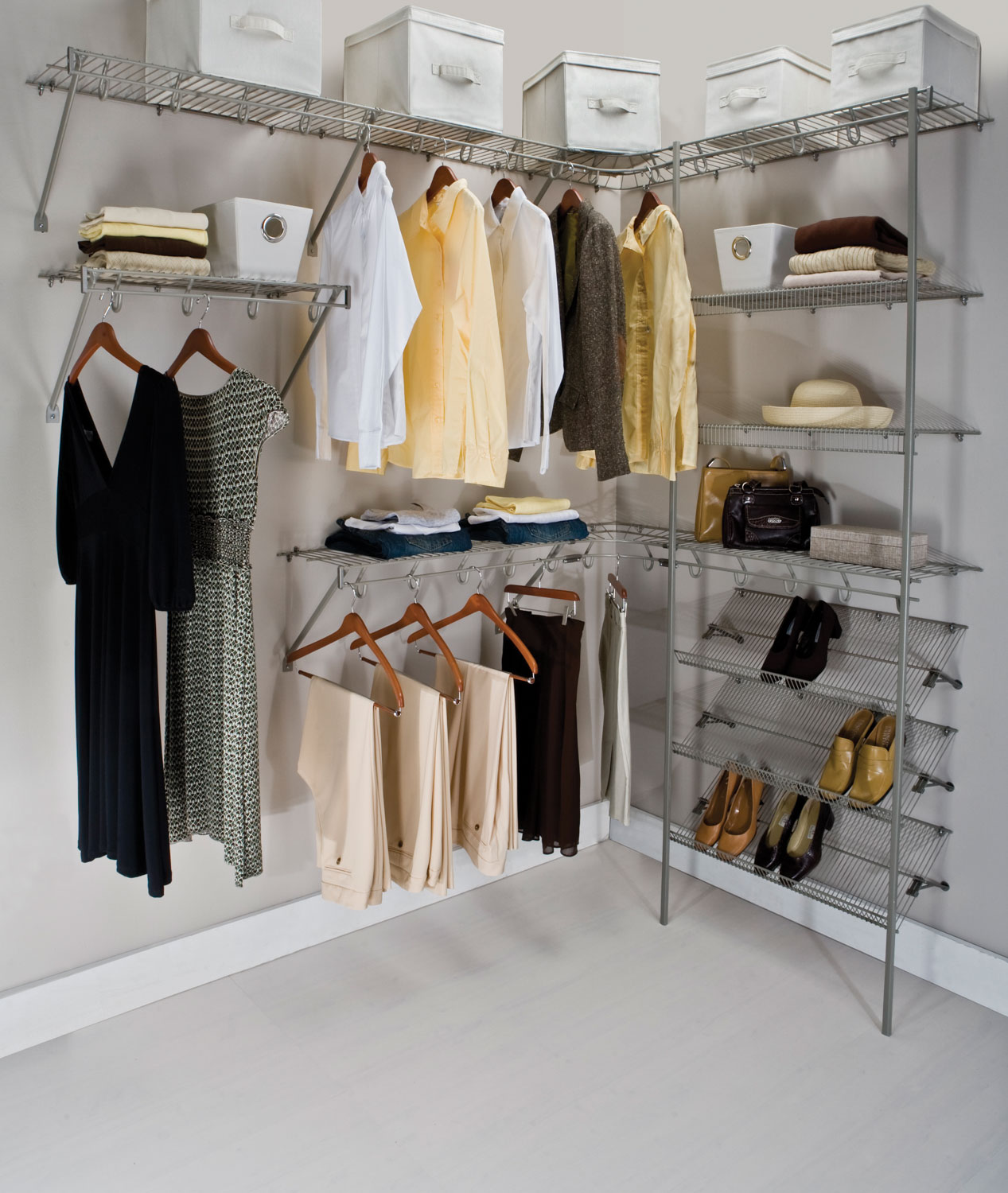 Wall Mount And Ventilated Wire Closet Shelving For