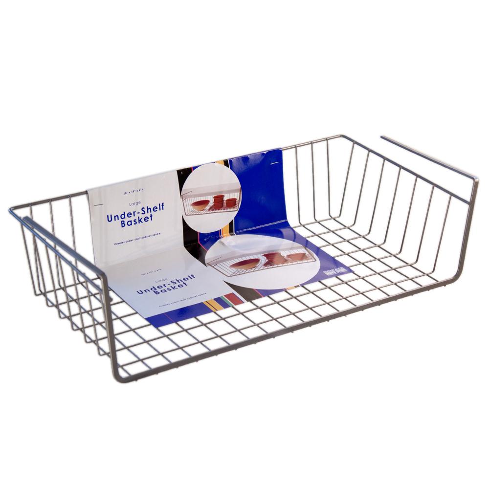 large under shelf basket nickel. Black Bedroom Furniture Sets. Home Design Ideas
